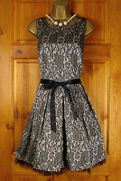 NEW EXCHAINSTORE GOLD BLACK FLORAL PARTY PROM COCKTAIL DRESS VINTAGE 50s STYLE