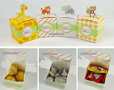 12 Zoo Animal Candy Favour Boxes/Bomboniere for Birthday Party Baby Shower