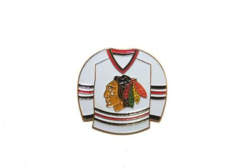 CHICAGO BLACKHAWKS WHITE JERSEY NHL HOCKEY LOGO METAL PIN BADGE ..NEW