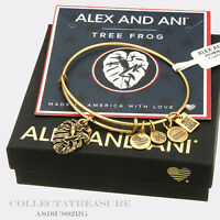 Authentic Alex And Ani Frog Rafaelian Gold Charm Bangle