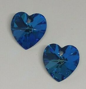 c60c9a9cc6ebe Swarovski 6228 Crystal Bermuda Blue Heart Pendant Drops; 10mm or ...