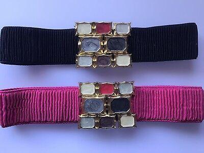 Women Lady Celebrity Gemstone Look Elastic Stretchy Waist Band Belt Wrap Tie G34