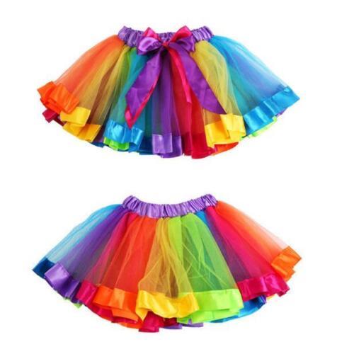 Kids Girls Skirt Petticoat Rainbow Pettiskirt Bowknot Cute Tutu Dress Dancewear