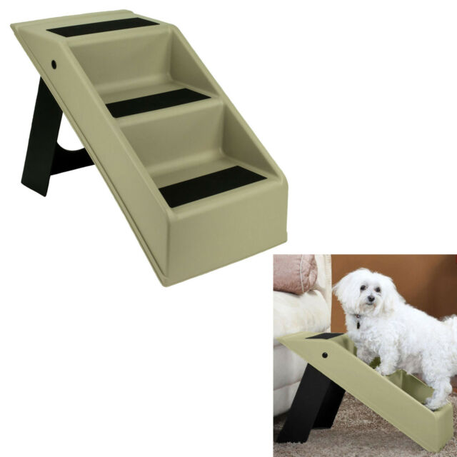 Pet Dog Stairs 3 Step Portable Folding Plastic Anti Slip Easy Up Sure Grip