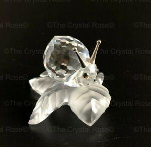 RARE-Retired-Swarovski-Crystal-Snail-on-a-Vine-Leaf-196501-Mint-Boxed