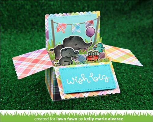 Lawn Fawn Lawn Cuts Cutting Die SCALLOPED BOX CARD POP-UP ~ 3D Folds Flat ~1376