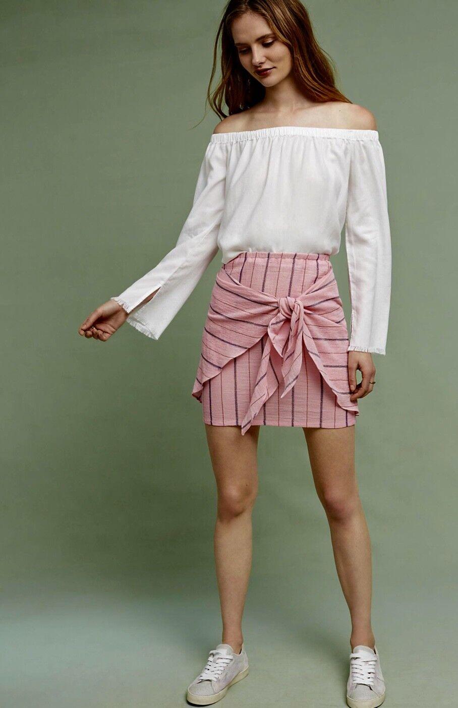 NWT Anthropologie Holding Horses pink Tie Front Gauzy Met Stipe Mini Skirt S