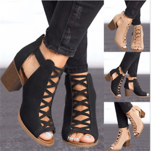 Details about Women Gladiator Roman Sandals Hollow Out Open Toe Zipper Block Shoes UK2.5 8.5