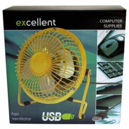 Mini Computer 4/'/' Desk Fan USB Excellent Portable Red Yellow Metal