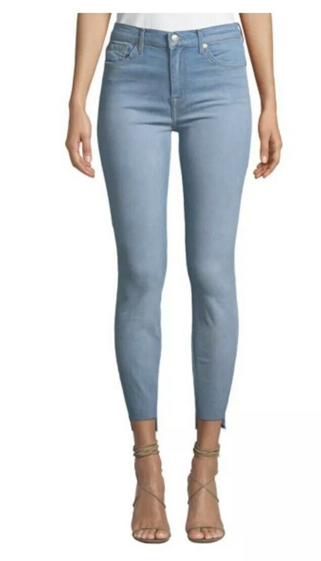 NEW 7 For All Mankind Gwenevere High-Waist Skinny Raw Hem Jeans - Size 30