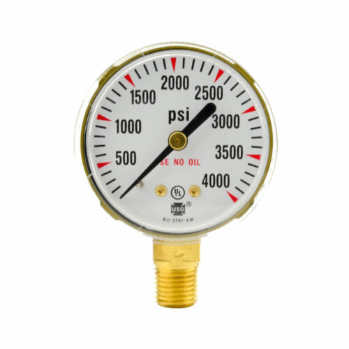 "2/"" x 4000 PSI Welding Regulator Repair Replacement Gauge For Oxygen"