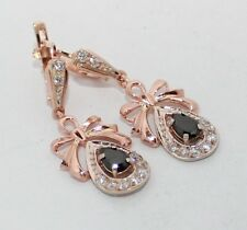 Russian gold jewelry Earring 585 14K Vintage USSR style Rose Gold 4,39 Tourmalin