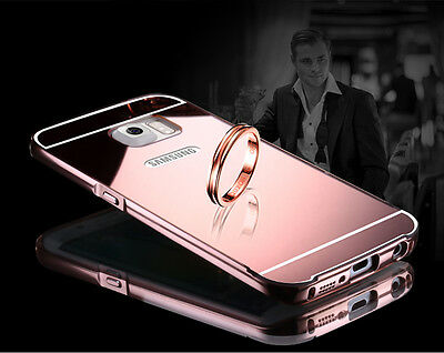 Plating Mirror Acrylic Back Metal Bumper Case Cover for Samsung Galaxy S5 S7 S8