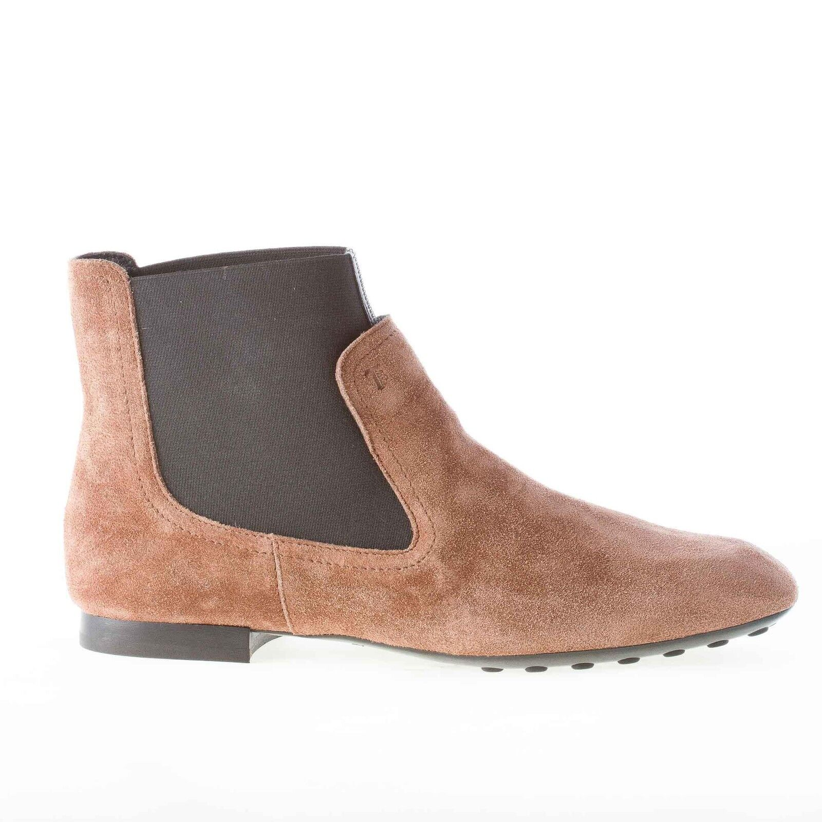 TOD'S damen schuhe shoes Brown suede flat ankle boot elasticized black band