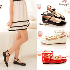 New-Women-Ballet-Flats-Buckle-Ankle-Strap-Mary-Jane-Flats-Ballerina-Flat-Shoes