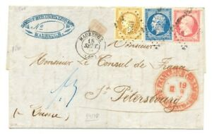 FRANCE-1861-LETTER-TRI-COLORE-TO-ST-PETERSBURG-RUSSIA-EXTRA-FINE