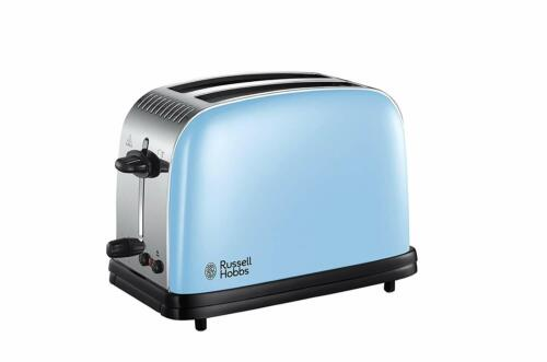 Russell Hobbs Colours Plus 2 Slice Toaster Heavenly Blue Vintage Wide Slot