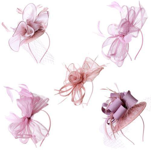 Élégant nouveau Dusty Rose Cheveux Cravate Plume Fête De Mariage Royal Ascot