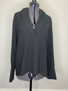 Zara-Black-Blouse-Size-M-Gold-Button-V-Neck-EUC
