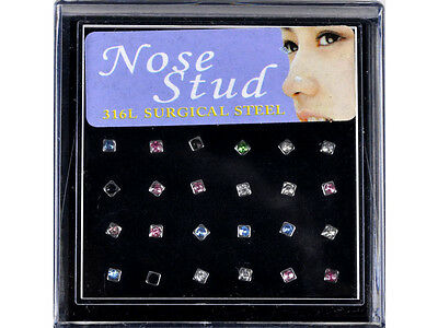 26Styles Wholesale Mixd Lots Sexy Nose Studs Piercing+Display Box Body Jewelry