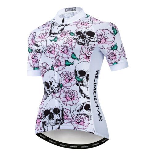 Skull Women Cycling Jersey Bike Short Sleeve Bicycle Sport Clothing T-Shirt Tops