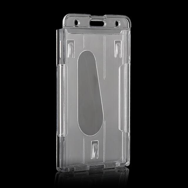 Vertical Hard Plastic Badge Holder Double Card ID Transparent Case 10x6cm Hot  E