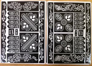 Henna Mehndi Stickers : Sheets henna stickers tattoo bodyart mehndi stencil ladies mens