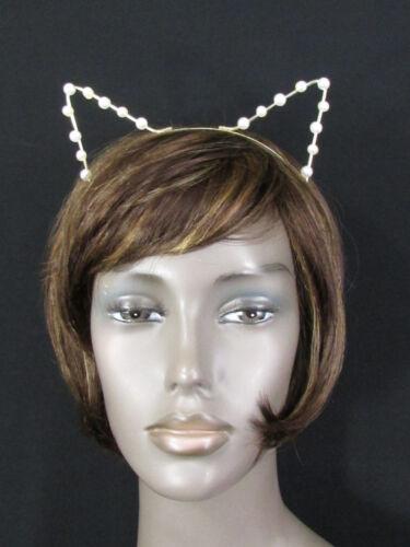 New women head band gold metal fashion animal ears imitation pearl beads cat dog