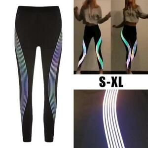 6ca1783743 Image is loading Rainbow-Reflective-Leggings-Gym-Fitness-Yoga-Pants -Sportswear-