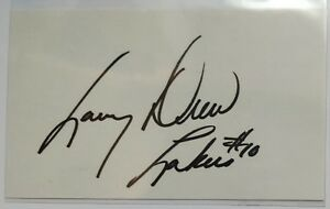 "Larry Drew signed autographed 3x5"" index card - Lakers inscribed auto"