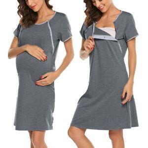 Maternity Short Sleeve Nursing Baby Breastfeeding Nightdress Pregnancy Dress