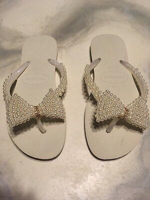 Havaianas Wedding Bridal Beach Flip Flops Pearl Crystal Bling