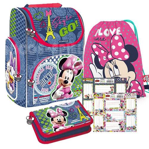 Minnie Mouse Maus Schulranzen Ranzen Schultasche Set 5 teilig mit Schuletiketten | In hohem Grade geschätzt und weit vertrautes herein und heraus  | Grüne, neue Technologie  | Nicht so teuer