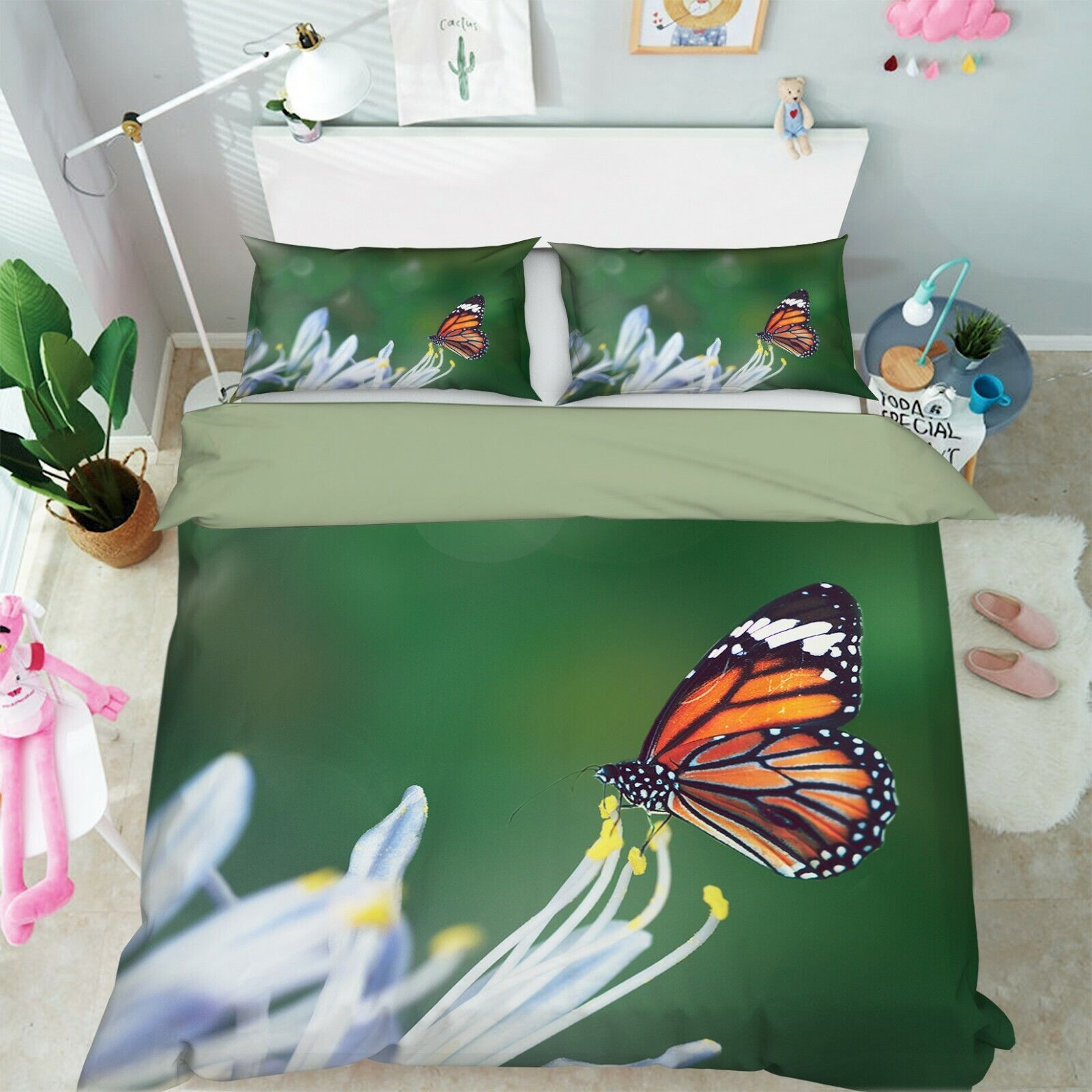 3D Daisy Butterfly R144 Animal Bed Pillowcases Quilt Duvet Cover Queen King Zoe