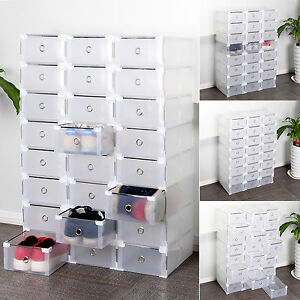 24x Plástico Transparente Zapato Caja Almacenaje Apilables Cajón Plegable Cajas