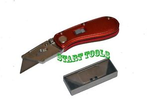 Folding-Lock-Back-Utility-Knife-Box-Cutter-Clip-10-Blades-Quick-Change-Red