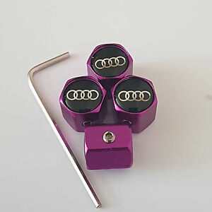 S LINE PURPLE ANTI THEFT DUST VALVE CAPS LIMITED ALL MODELS RETAIL PACKED AUDI
