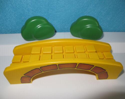 Playmobil 123 Brücke gelb mit 2 Büschen für Bauernhof  Puppenhaus First Smile