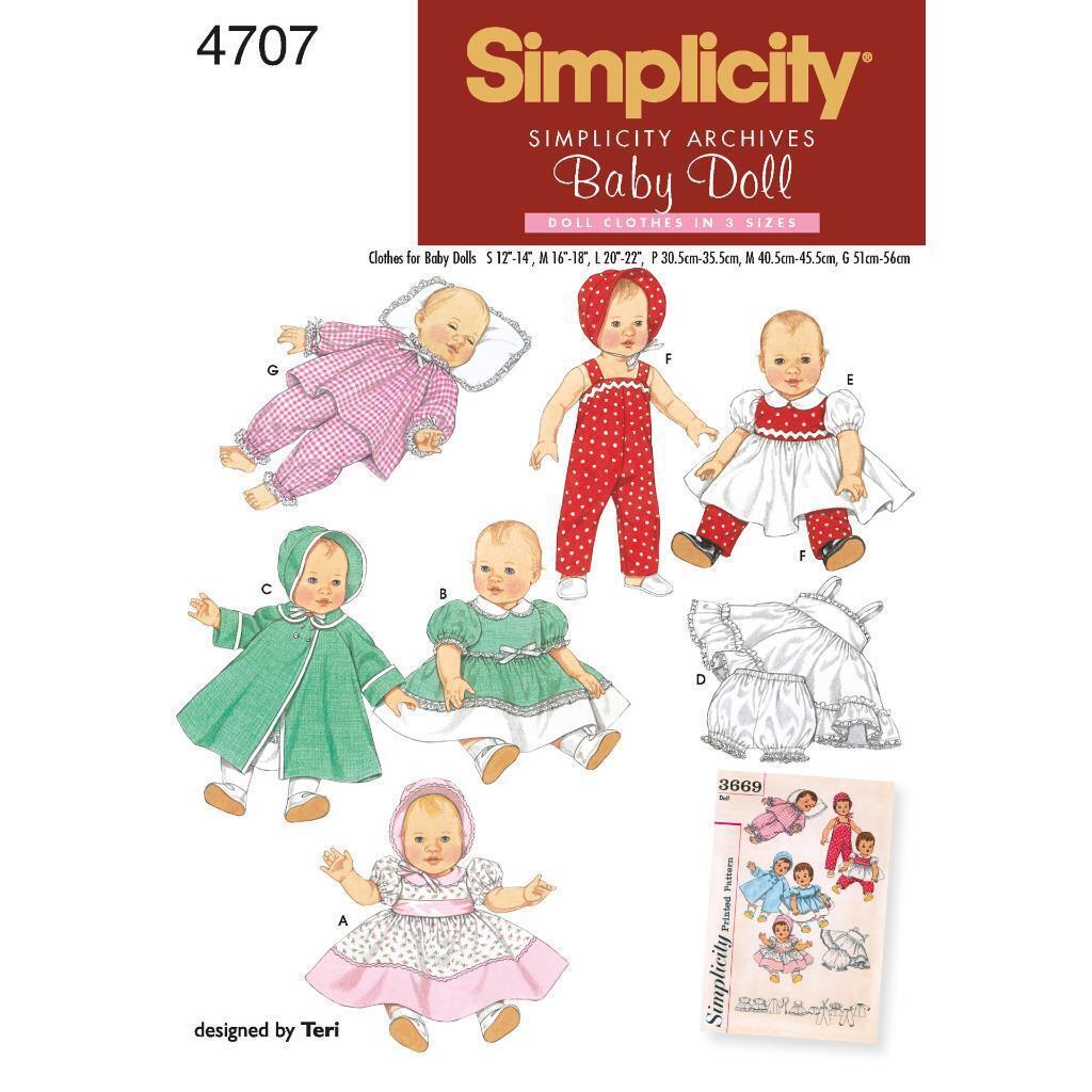 Simplicity Schnittmuster 4707 für Puppenkleidung   eBay
