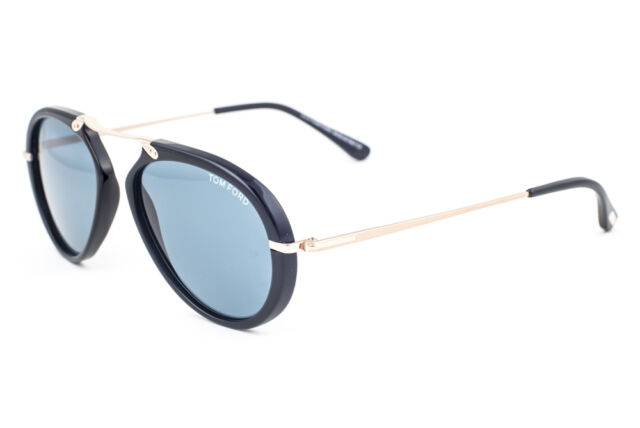 380b4515ca Tom Ford Aaron TF 473 01v Shiny Black Aviator Plastic Sunglasses for ...