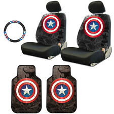 FOR JEEP NEW CAPTAIN AMERICA CAR SEAT COVERS FLOOR MAT STEERING WHEEL COVER SET