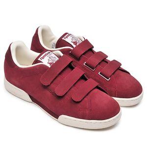 2d1cbd444f8 Image is loading Mens-Reebok-Classics-NPC-Straps-Burgundy-Red-Sneakers-
