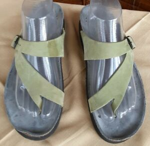 Mephisto-Green-Leather-Thong-Comfort-Sandals-Shoes-Women-s-42-EU-12-US