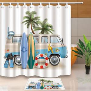 Surfboard Palm Tree Lifebuoy on Minivan Bathroom ShowerCurtainSet 71In Fabric