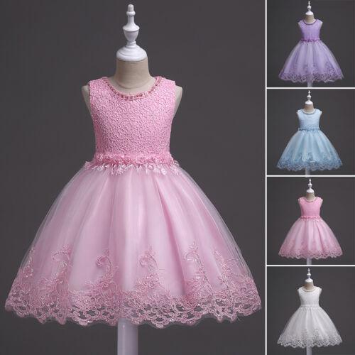 Princess Flower Girls Dress Kids Baby Party Wedding Pageant Lace Tutu Dresses