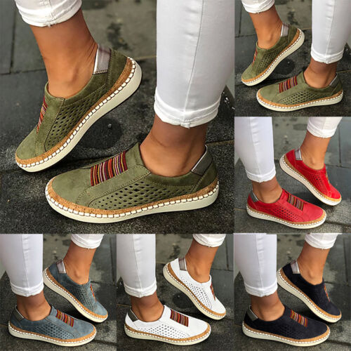 Womens Hollow Slip On Casual Sneakers Loafers Ladies Flat Sole Pumps Comfy Shoes