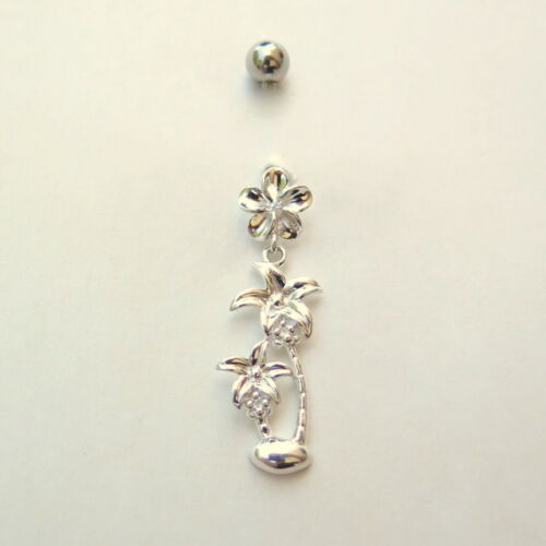 Hawaiian Sterling Silver Belly Button Navel Ring Piercing 10mm Flower BL2282