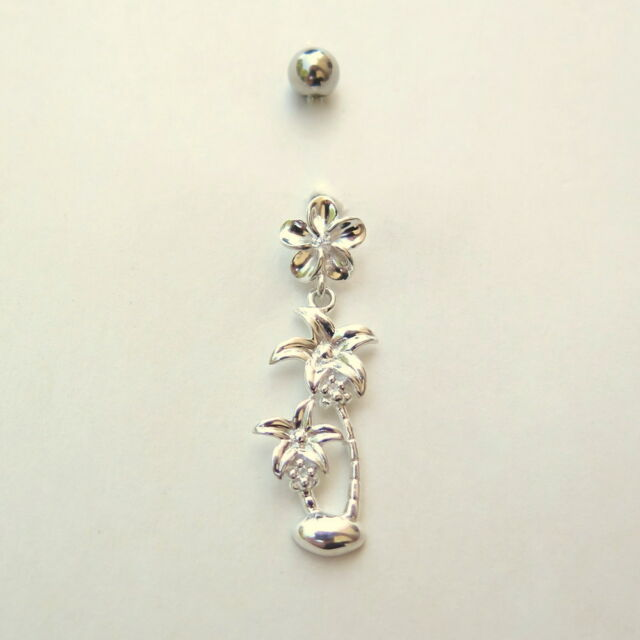 Hawaiian Sterling Silver Belly Button Navel Ring Piercing 10-8-6 CL CZ # BL2353