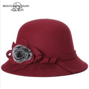 BINGYUANHAOXUAN-Women-039-s-Winter-Bucket-Hat-Vintage-Sweet-Cute-Felted-Wool-Floppy