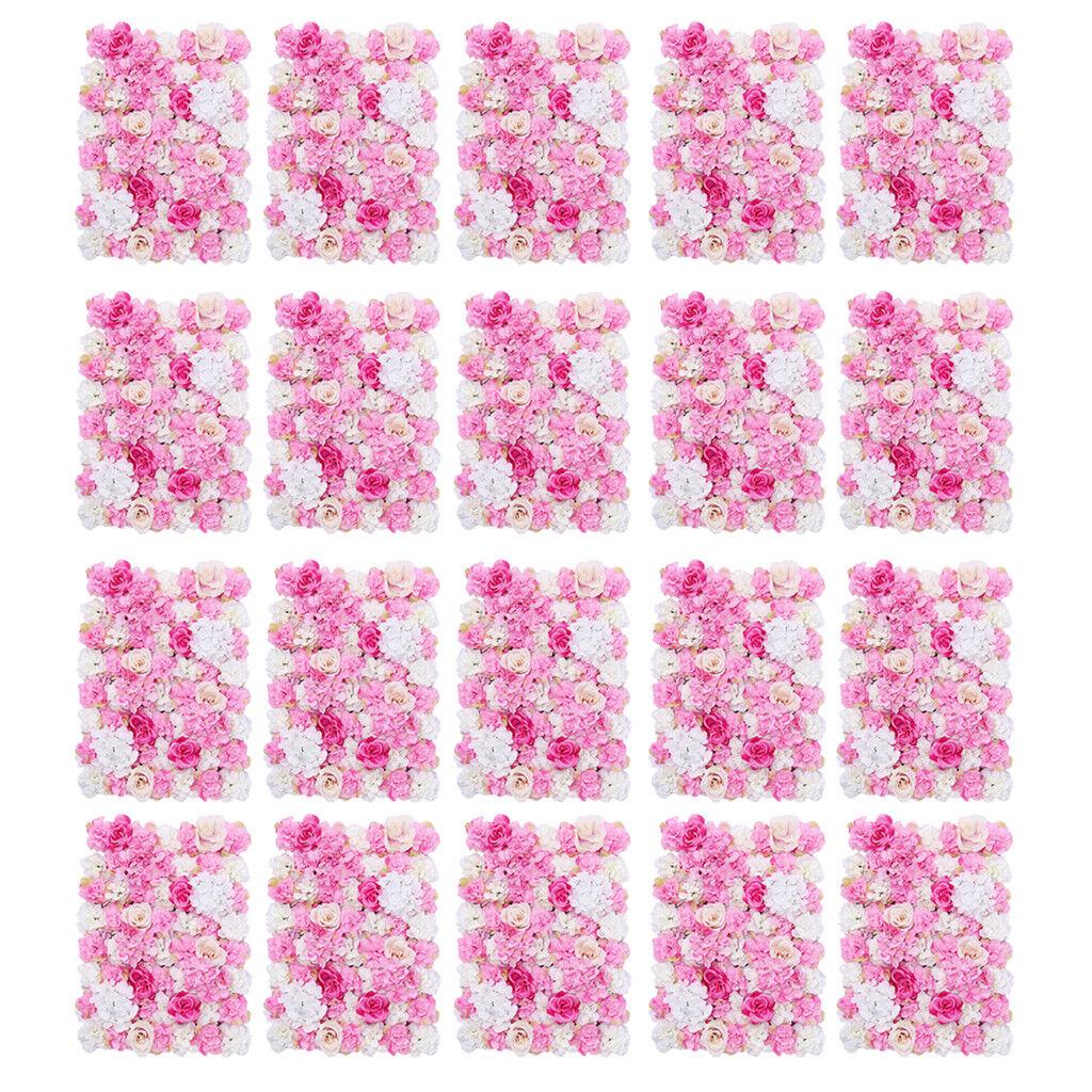 20pcs Artificielle Mariage Fond Fleur Mur pétales de panneaux Rose Chaud